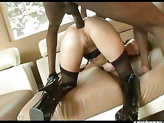 Brunette In Black Stockings And Boots Gets Fucked In Pussy
