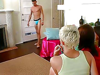 Clothed Women Jerk Off A Guy In Cfnm Porn