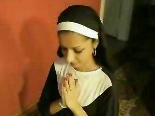Pretty Indian Nun Swallows A Cumload